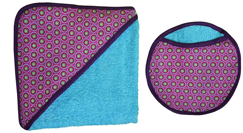 carré de bain biomome et bomino eponge coton bleu tapioca vert fuschia
