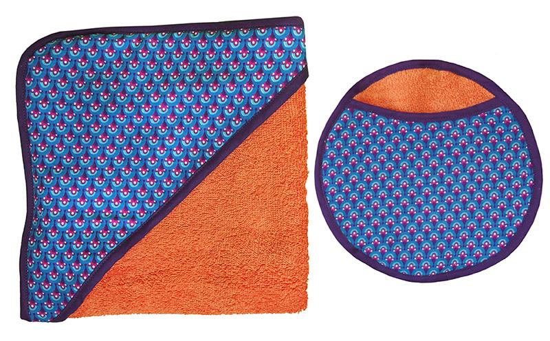 carré de bain biomome et bomino eponge coton orange paon bleu