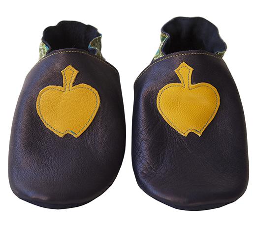 chausson cuir biomome et bomino marine pomme anis motif onde pointilliste verte