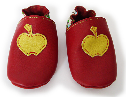 chausson cuir biomome et bomino rouge pomme anis motif bulle verte face