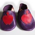 chausson cuir violet pomme rougel japonais rouge biomome et bomino face