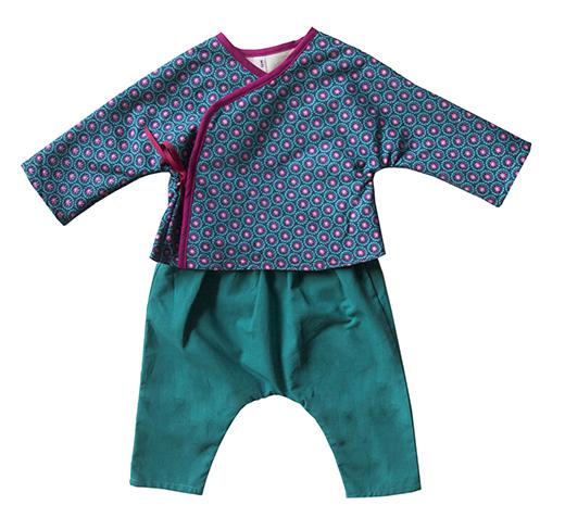 ensemble cache coeur et sarouel tapioca turquoise fuchsia