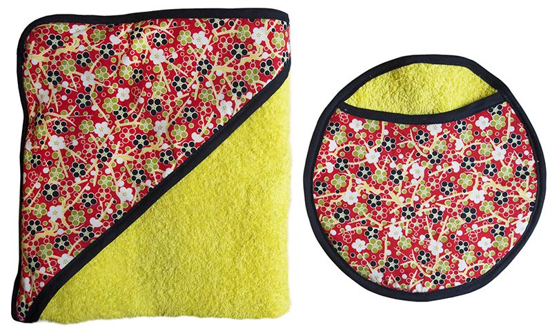 ensemble carre de bain et gant eponge de coton jaune biomome et bomino japonais rouge