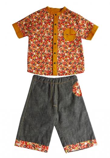 ensemble chemise et pantalon demie-lune japonais rouge