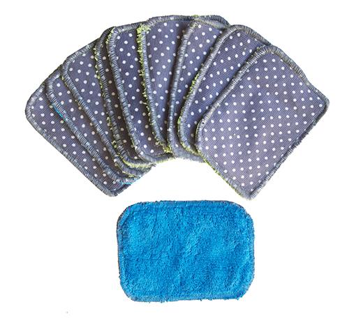 lingettes démaquillantes bébé ou maman bambou bleu coton milleraies gris biomome et bomino