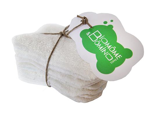 lingettes démaquillantes bébé ou maman bambou et coton écru biomome et bomino