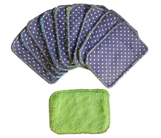 lingettes démaquillantes bébé ou maman bambou vert coton milleraies gris biomome et bomino
