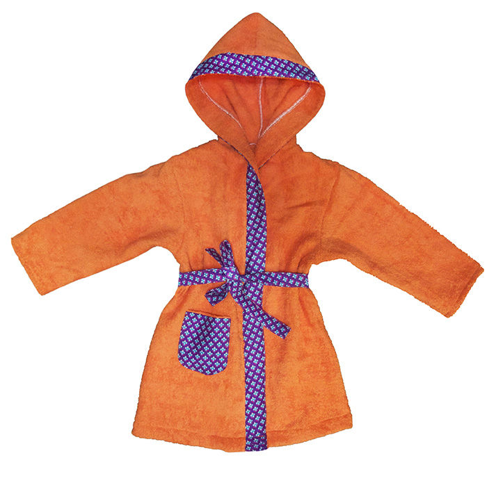 peignoir biomome et bomino eponge de coton orange motif paon violet 72