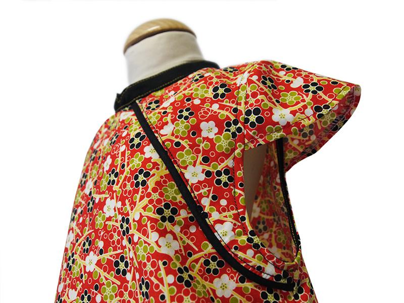 robe mao motif japonais rouge biomome et bomino detail