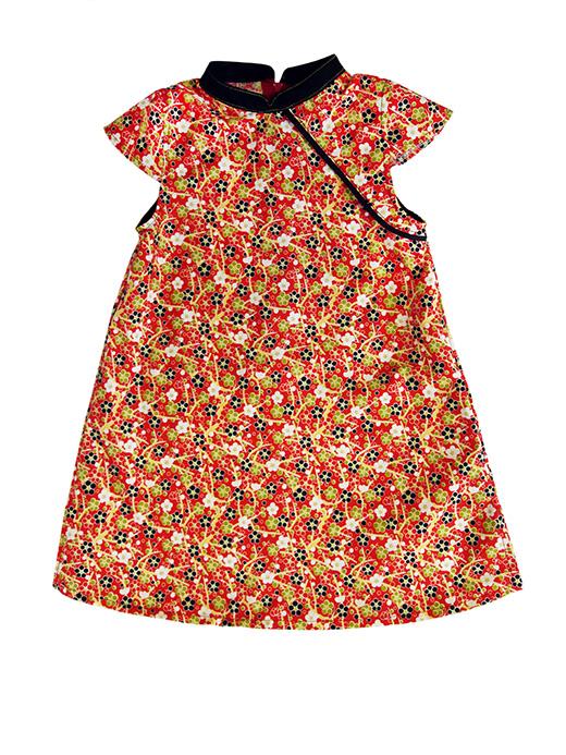 robe mao motif japonais rouge biomome et bomino face