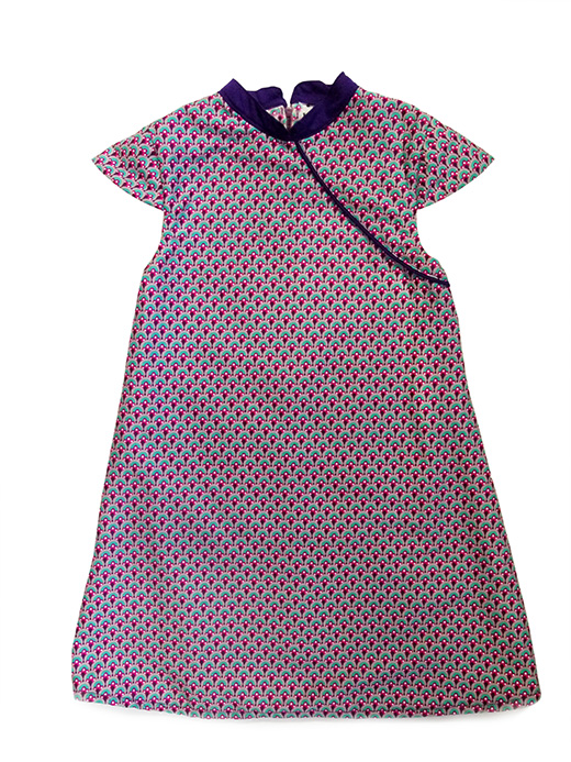 robe mao motif paon turquoise biomome et bomino face col violet