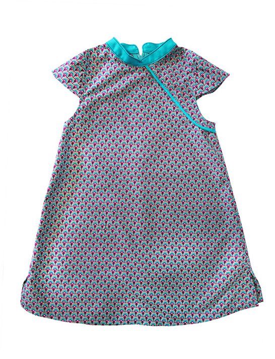 robe mao motif paon turquoise biomome et bomino face