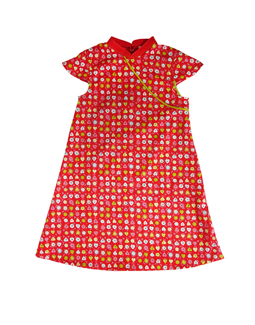 robe mao petits coeurs anis biomome et bomino face