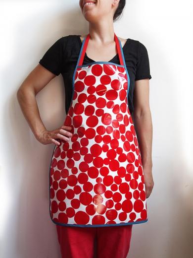 tablier tissu enduit femme bulle rouge biomome et bomino