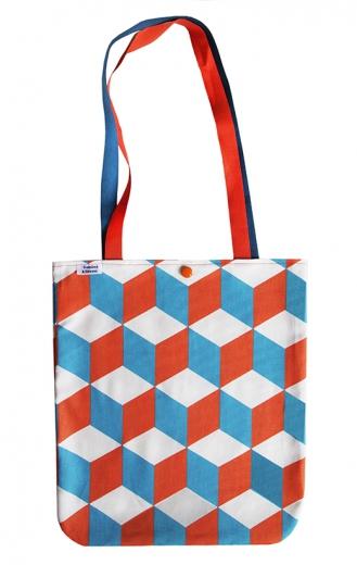 tote bag cubique annees 30 orange et bleu biomome et bomino