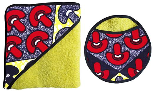 ensemble carre de bain et gant eponge de coton jaune biomome et bomino champiwax