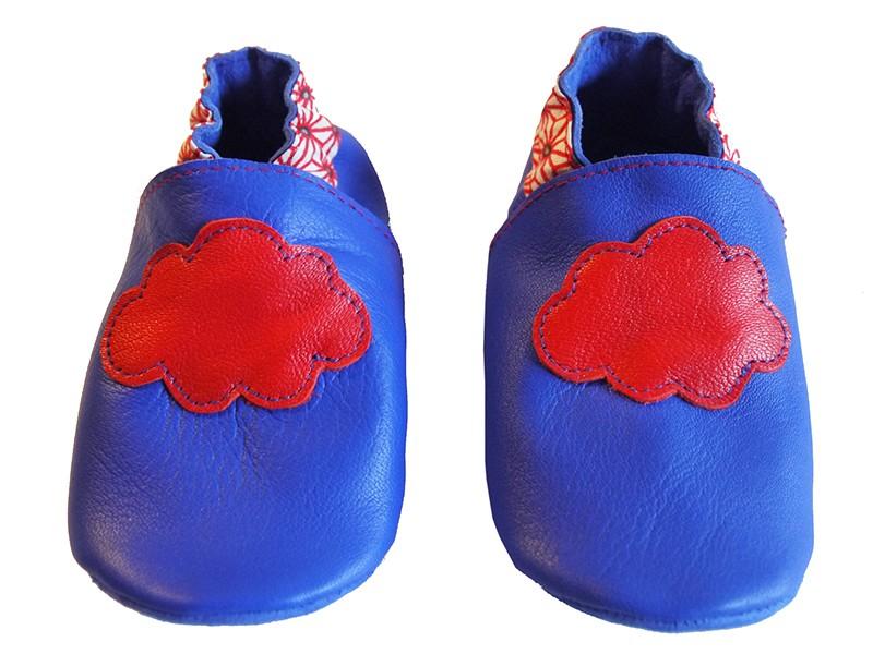 pas cher pour réduction 4ff2a d3ea2 CHAUSSONS CUIR bleu klein * nuage, asanoah rouge